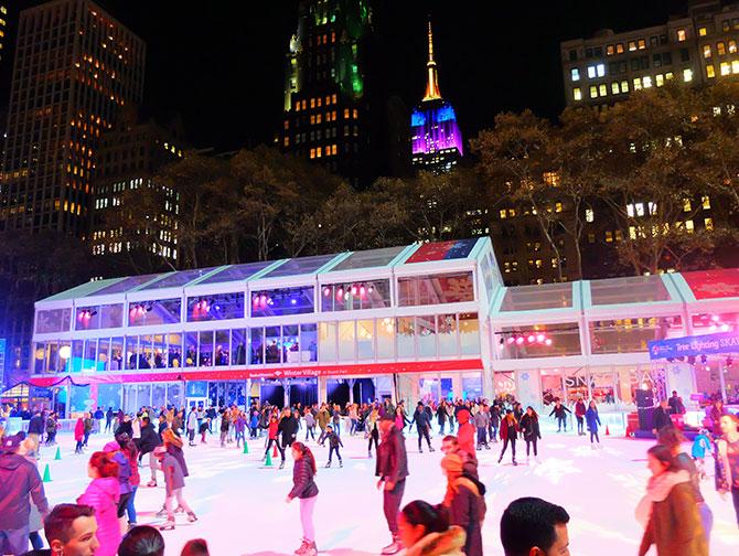 Weihnachtszeit in New York - Eislaufen im Bryant Park