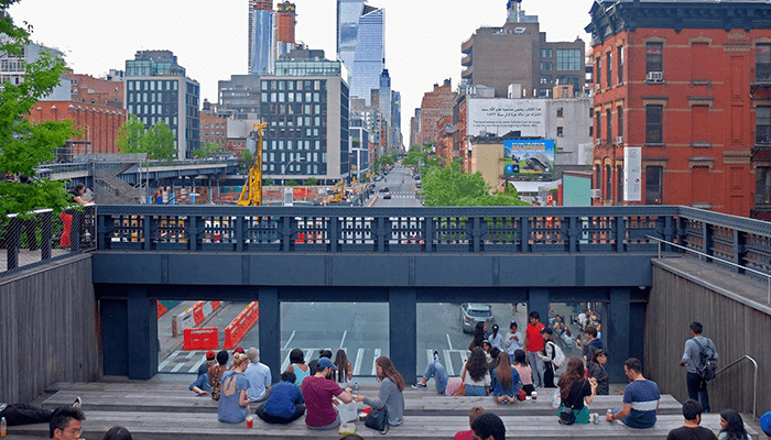 High Line Park in New York - Stufen