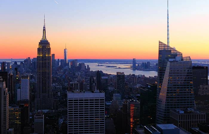 Top of the Rock Tickets - Aussicht bei Sonnenuntergang
