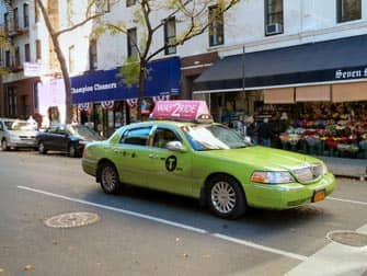 Limonen grünes Taxi in New York