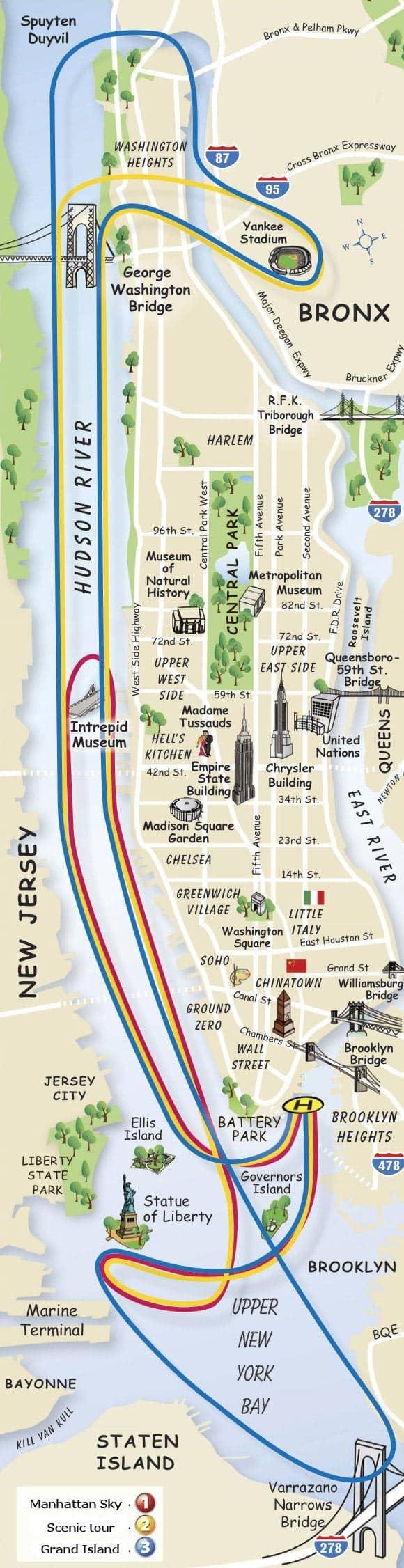New York Helikopterrouten - Karte