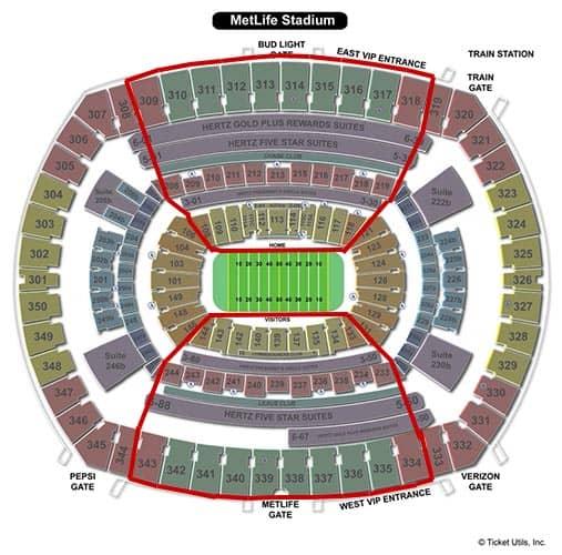 New York Jets - MetLife Stadium Sitzplan
