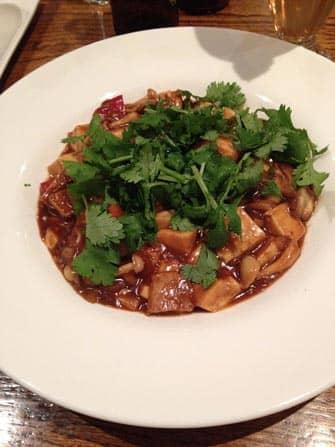 Koriander Tofu und Shiitake in kalter Sauce bei Wild Ginger in New York