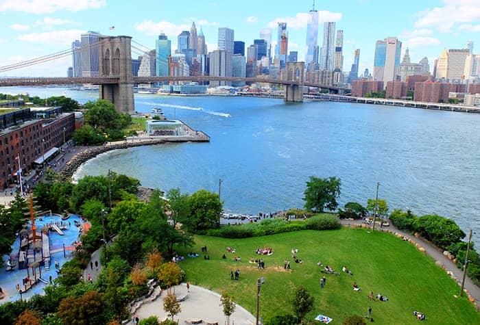 Brooklyn Bridge Park in New York - Von oben
