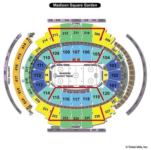 New York Rangers - Madison Square Garden Sitzordnung